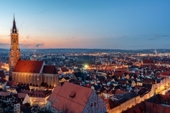 Landshut, Bavaria, Germany, St Martin's cathedral and the gothic Old town on sunset