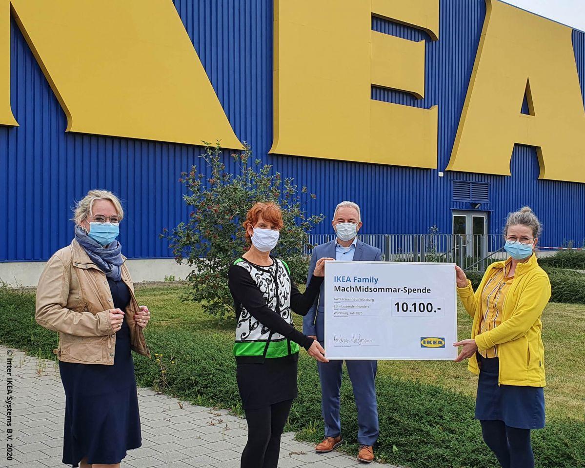 IKEA Würzburg spendet 10.100 Euro ans Frauenhaus der AWO