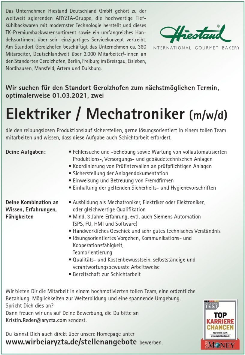 Hiestand Elektriker Mechatroniker